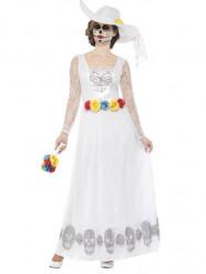 Disfraz de novia largo blanco Día de los Muertos