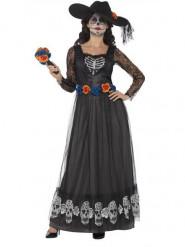 Disfraz de novia largo negro mujer Día de los Muertos