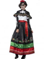 Disfraz mejicano vestido largo mujer Día de los muertos