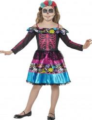 Disfraz esqueleto colorido niña Día de los muertos