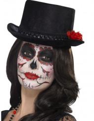 Sombrero de copa negro adulto Día de los Muertos