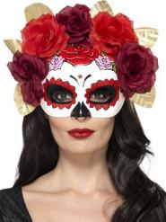 Semi máscara rosas rojas adulto Día de Los Muertos