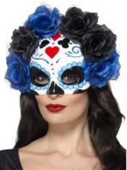 Semi Máscara Rosas negras y azules Día de Los Muertos