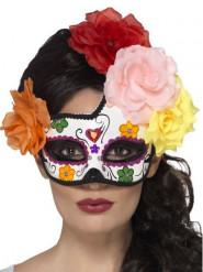 Antifaz colorido con rosas mujer Día de los muertos