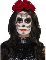 Kit maquillaje glamour con pestañas falsas y joyas mujer Día de los muertos