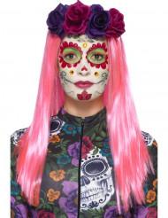 Kit de maquillaje colorido con pestañas postizas Día de los muertos mujer
