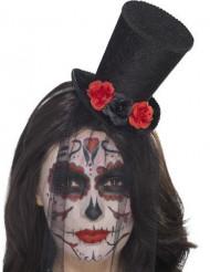 Mini sombrero con rosas y velo mujer Día de los muertos