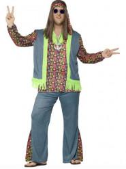 Disfraz de hippie flower colores hombre