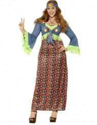 Disfraz de hippie flower colores mujer