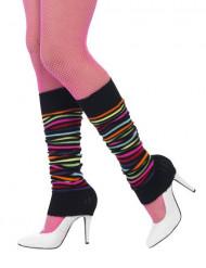 Calentadores negros rayas multicolores mujer