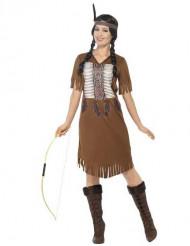 Disfraz de india marrón con flecos mujer