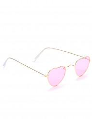 Gafas rosas corazón montura metálica adulto