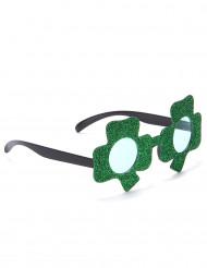 Gafas brillantes verdes trébol San Patricio adulto