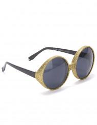 Gafas redondas purpurina dorada adulto