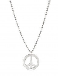 Collar hippie plateado adulto