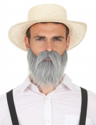 Bigote y barba gris adulto
