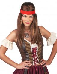 Peluca pirata o hippie con bandana adulto