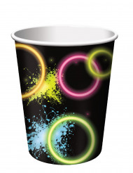 8 Vasos de cartón Glow Party 266 ml