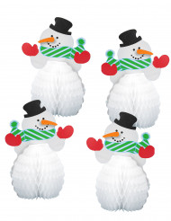 4 Mini centro de mesa muñeco de nieve 15 cm