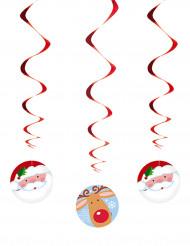 3 Guirnaldas con forma de espiral Papá Noël y reno