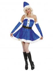 Disfraz Mamá Noël azul mujer