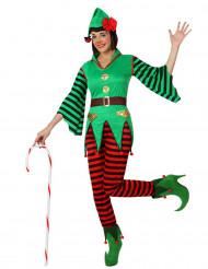 Disfraz elfo bastón de caramelo mujer Navidad