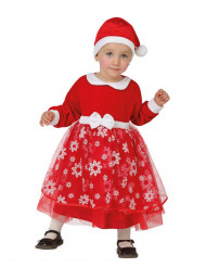 Disfraz de princesa roja con copos bebé Navidad