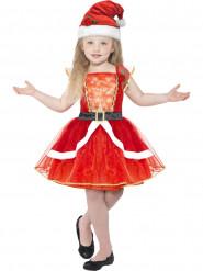 Disfraz de Mamá Noel rojo luminoso con sombrero niña Navidad
