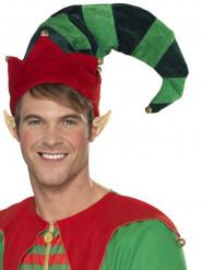 Sombrero de elfo con cascabeles adulto Navidad