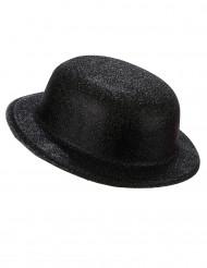 Sombrero bombín plástico purpurina negra adulto