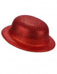 Sombrero de plástico brillantina rojo adulto