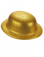 Sombrero bombín plástico purpurina dorada adulto