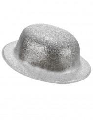 Sombrero de plástico brillantina plateado adulto