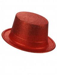 Sombrero de copa de plástico con brillantina rojo adulto