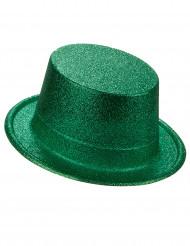 Sombrero de copa de plástico con brillantina verde adulto