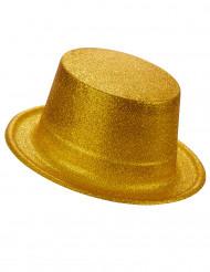 Sombrero de copa de plástico con brillantina dorado adulto