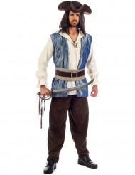 Disfraz pirata hombre azul y marrón