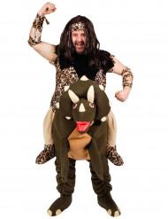 Disfraz de hombre prehistórico con dinosaurio adulto -Premium