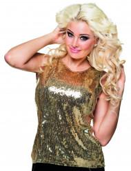 Camiseta lentejuelas doradas mujer
