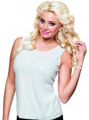 Camiseta blanca lentejuelas mujer