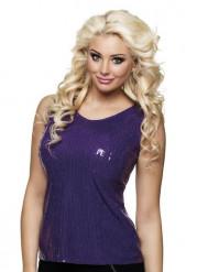 Top lentejuelas violeta mujer