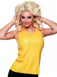 Top de lentejuelas amarillo fluo mujer
