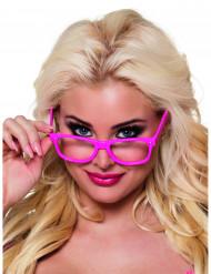 4 Gafas rosa fluo adulto