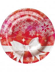 8 Platos pequeños cartón lazo Navidad 18 cm