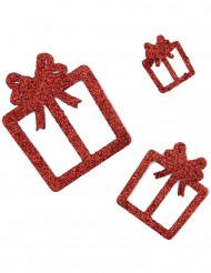 6 Decoraciones regalos rojos purpurina