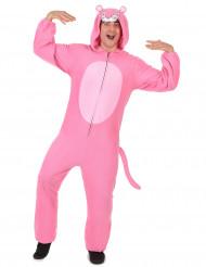 Traje de pantera rosa con capucha rosa hombre