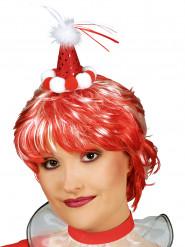 Mini sombrero de payaso rojo con pompones adulto