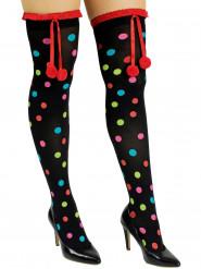 Medias negras con puntos multicolores y pompones adulto