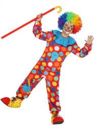 Disfraz de payaso multicolor con puntos niño