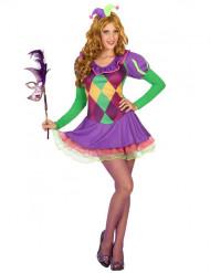 Disfraz arlequín violeta mujer